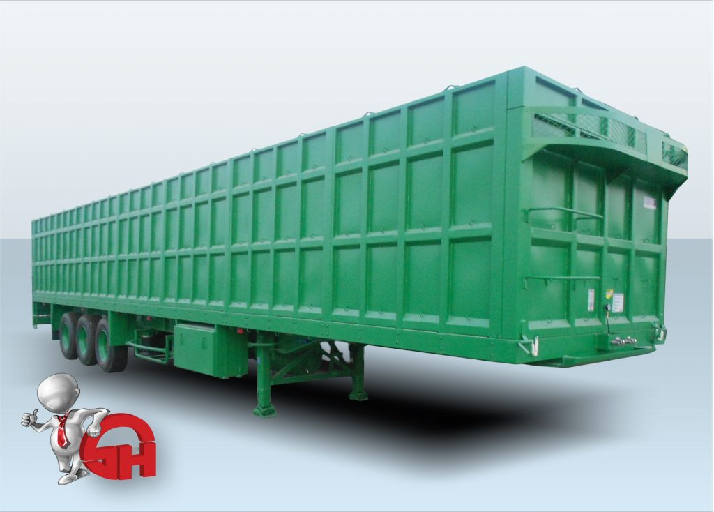 Flatbed trailer with high sides- تريلات جوانب